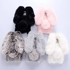 Luxury Soft Furry Rabbit Fur Skin Cover Case for iPhone Samsung Sony Smartphones