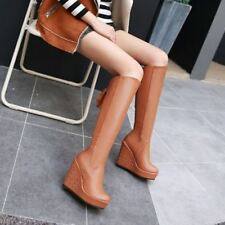 New Womens Wedge High Heels Faux Leather Riding Knee High Boots Shoes Plus Size