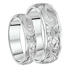 His & Her's Couple Titanium Wedding Rings Hand Engraved Cz Stone Stunning Bands