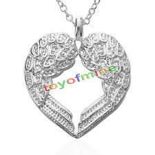 Women 925 Sterling Silver Angel Wing LOVE Heart Silver Pendant Necklace Gift HP