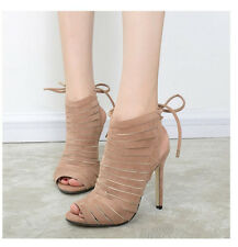 Womens Peep Toe Cut Out Slingback Lace Up Sandals Pump High Heel Ankle Boots