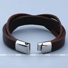 Leather 3 Cross Stainless Steel Magnetic Buckle Unisex Bracelet Cuff