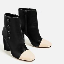 ZARA ��  NEW AW16 BLACK BUTTON DETAIL HIGH HEEL ANKLE BOOTS ��  Ref  7116/101