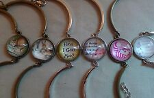 Alice in Wonderland Bangle Bracelet Glass Cabochon Dome Cheshire Cat * See Promo