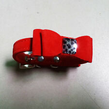 Teacup Pet Products Flock Leather Small Dogs Collars Bow Tie  Cats Collars Red