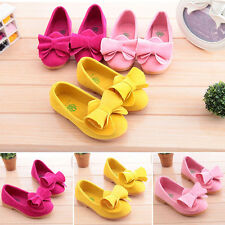 Girls Kids Candy Color Princess Shoes Bow Soft Flat Anti-slip Loafers Sandals