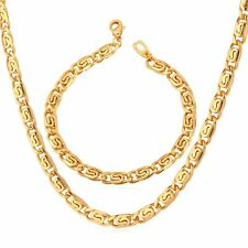 Cool Men's Jewelry Set 18K Gold Plated Classic Snail Chain Necklace Bracelet Set