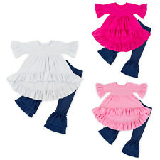 Toddler Baby Girls Dress New Ruffle T-shirt Top +Jeans Long Pants Outfit Clothes