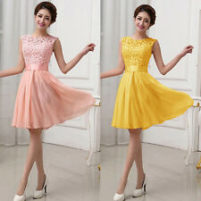 Women Formal Lace Short Dress Party Wedding Bridesmaid Dresses Evening Prom Gown