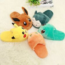 Adult Slipper Pokemon Cosplay Pikachu Eevee Snorlax Soft Plush Slippers Shoes