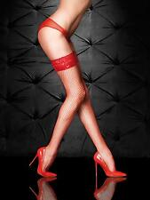 Ann Summers Womens Ladies Vamp Red Lace Top Fishnet Sexy Erotic Hold Up Hosiery