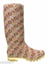 Womans Ladies Girls Floral Festival Wellies Rain Snow Welly Boots Size 3 4 5 6 7