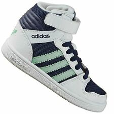 ADIDAS ORIGINALS PRO PLAY COMFORT BABY KIDS HI TOP SHOES TRAINERS WHITE BLUE