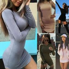 Newest Long Sleeve Women Bodycon Dress Ladies Short Mini Evening Cocktail Dress