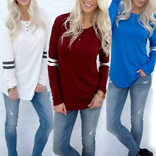 New Women Long Sleeve Shirts Tops Baseball Baggy Blouse Lady Casual Pullover Top