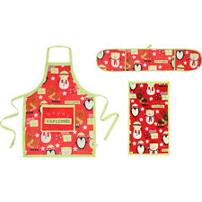 Merry Christmas Character Kitchen Cook Set (Double Oven Glove, Apron, Tea towel)