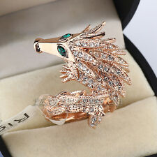 Rhinestone Long-tail Pangolin Wrap Ring 18KGP CZ Crystal Size 6.5,8