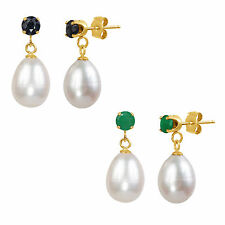14k Yellow Gold White Freshwater Cultured Teardrop Pearl and Gemstone Earrings