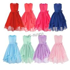 Girls Flower Dress Kid Birthday Princess Wedding Bridesmaid Formal Chiffon Dress