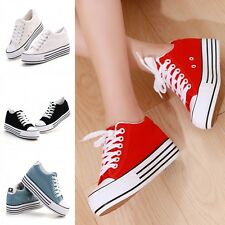 Stylish Womens Girls Canvas Casual Sneakers High Platform Thick Sole Sport Shoes
