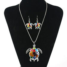 Women Jewelry Set Charming Rainbow Turtle Pendant Necklace+Earring Classical