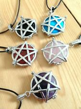 CRYSTAL PENTAGRAM LOCKET NECKLACE GEMSTONE NEW AGE JEWELLERY PAGAN HEALING