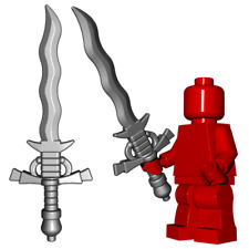 Custom FLAMBERGE Knight Templar Sword for Castle Lego Minifigures Black or Steel
