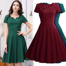 Women Retro 1950s Cocktail Evening Party Casual Business OL Pleated Flare Dress