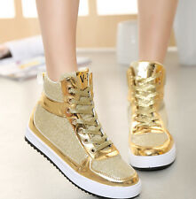 Women's Fashion Sequins Lace Up High Top Lace Up Sneakers Running Jogging Shoes