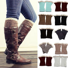 1pair Short Crochet Knit Lace Trim Leg Warmers Cuffs Toppers Boot Sock Protector