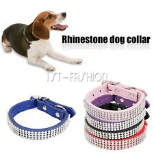 Dog collar Pet Cat Puppy Crystal Rhinestone Bowknot Adjustable PU Leather New