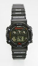 Watch Mens Alarm Month Day Date Black Rubber Water Resistant Battery Quartz