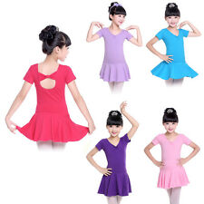 Girls Gymnastics Ballet Dress Kids Leotard Tutu Skirt Skate Dancewear Costume