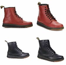 Dr Martens Newton Mens Womens Black Cherry Red Temperley Leather Boots Shoes