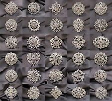 Brooch Lot 10-100 Silver Mixed Pin Wholesale Rhinestone Crystal Wedding Bouquet