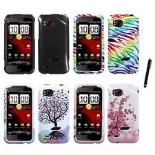 For HTC Rezound Design Snap-On Hard Case Phone Cover Stylus Pen