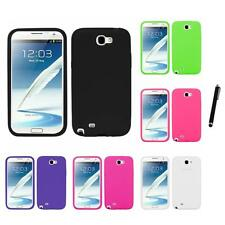 For Samsung Galaxy Note 2 N7100 Silicone Skin Rubber Soft Case Cover Stylus Pen