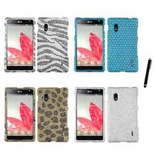 For LG Optimus G E970 Diamond Diamante Bling Rhinestone Case Cover Stylus Pen
