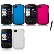 For BlackBerry Q10 Rubberized Matte Snap-On Hard Case Phone Cover Stylus Pen
