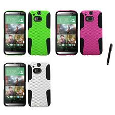 For HTC One M8 Hybrid Rugged Impact Hard Soft Case Phone Cover Stylus Pen