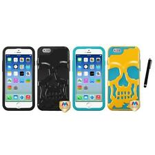 For iPhone 6/6S [4.7] Hybrid Skull Skeleton Impact Hard Soft Case Stylus Pen