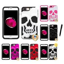 For iPhone 7 Plus [5.5] Hybrid Skull Skeleton Impact Hard Soft Case Stylus Pen