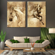 Horse Painting 2 Piece Abstract Animal Canvas Prints Fine Oil Art Wall Decor