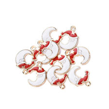 10 pcs Xmas Christmas Mix Silver Plated Enamel Pendants Charm