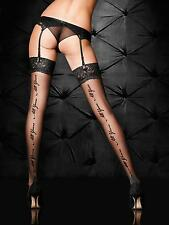 Ann Summers Womens All Yours Stocking Glossy Black Sexy Lace Welt Hosiery