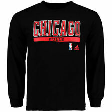 adidas Chicago Bulls Black Cut and Paste Long Sleeve T-Shirt