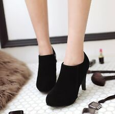 Ladies Womens Suede Round Toe Zipper High Heels Booties Ankle Boots Winter Shoes