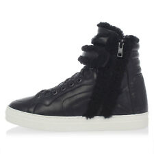 PIERRE HARDY New woman Black Leather SHEARLING sneakers Shoes Made in Portugal