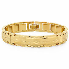 Mens 14k Yellow Gold Plated Diamond Cut Classic Style ID Bracelet