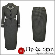 NEXT UK8/6 US4/2 50S VINTAGE INSPIRED BLACK WHITE CREAM PENCIL SKIRT SUIT SIZE